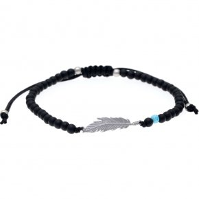 Bracelet silver 925 rhodium plated & with onyx  with cord - My Man