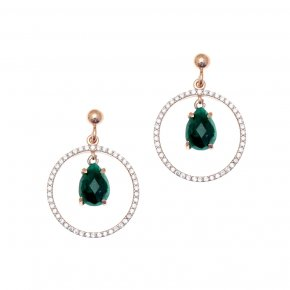Earrings silver 925 pink gold plated & with treated emerald and white zirconia - Nymfes
