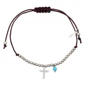 Bracelet silver 925 rhodium plated & with turqoise with cord - Sirens