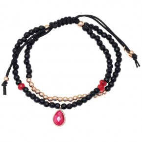 Bracelet silver 925 pink gold plated & with onyx and treated ruby with cord - Petra