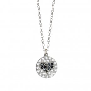 Necklace silver 925 rhodium plated & with white zirconia and black spines - WANNA GLOW