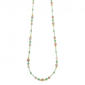 Necklace silver 925 pink gold plated & with bamboo coral - Chroma