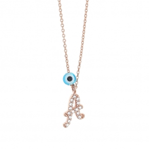 Necklace silver 925 pink gold plated with white zirconia - Wish Luck