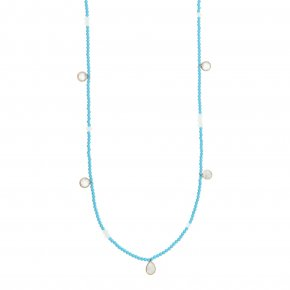 Necklace silver 925 pink gold plated & with turqoise and moonstone - Petra