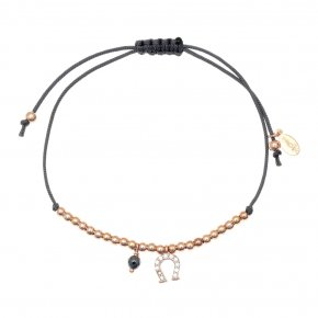 Bracelet silver 925 pink gold plated & with hematite with cord - Sirens