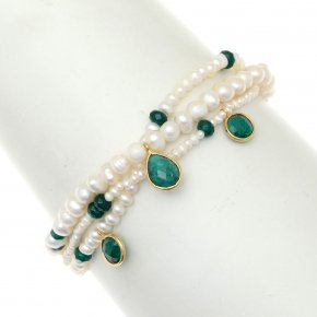 Bracelet silver 925 pink gold plated & with fresh water pearls and treated emerald with cord - Petra