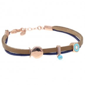 Bracelet silver 925 pink gold plated & with turqoise with cord - Filia