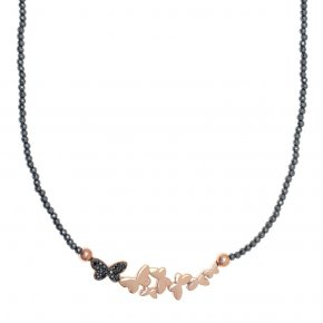 Necklace silver 925 pink gold plated & with hematite and black spinels - Emfasis