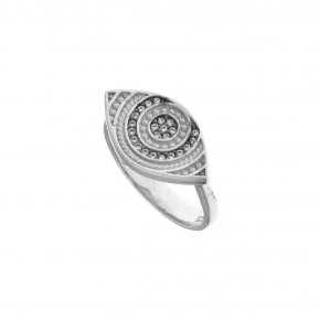 Ring silver 925 rhodium plated & with white zirconia - Wish Luck