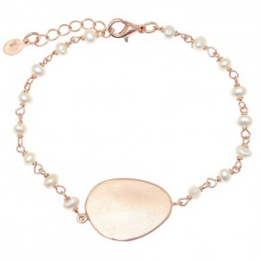 Bracelet metal pink gold plated & with fresh water pearl - Anemos