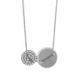 Necklace silver 925 rhodium plated with white zirconia - LAMPSIS