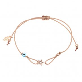 Bracelet silver 925 pink gold plated & with white zirconia with cord - Mitos
