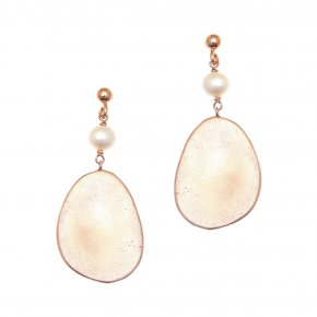Earrings metal pink gold plated & with fresh water pearl - Anemos