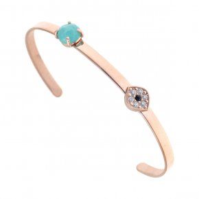 Bracelet silver 925 pink gold plated & with turqoise and white zirconia - Aura