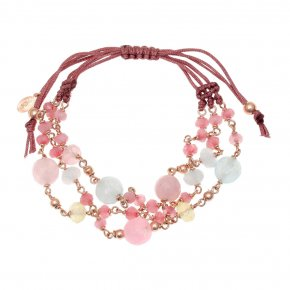 Bracelet silver 925 pink gold plated & with colored stones and crystals with cord - Chroma