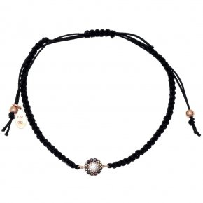 Bracelet silver 925 pink gold plated & with colored zirconia with cord - Color Me