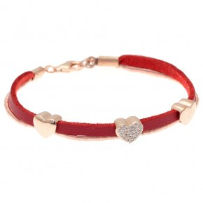 Bracelet silver 925 pink gold plated & with zirconia with cord - Filia