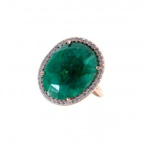 Ring silver 925 pink gold plated & with treated emerald and white zirconia - Color Me