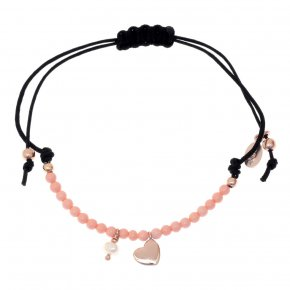Bracelet silver 925 pink gold plated with synth.stones and cord - Sirens