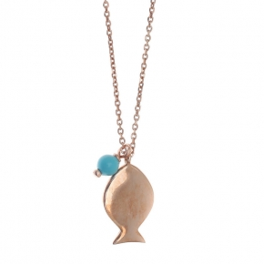 Necklace silver 925 pink gold plated & with turqoise - Sirens