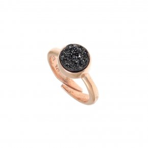 Ring silver 925 pink gold plated with synthetic stones - Enigma