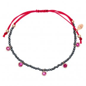 Bracelet silver 925 pink gold plated & with hematite and colored zirconia with cord - Chromata