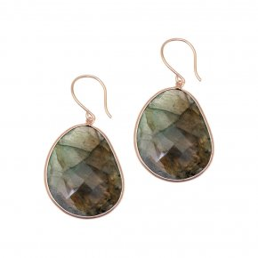 Earrings silver 925 pink gold plated & with labradorite - Color Me