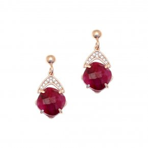 Earrings silver 925 pink gold plated & with treated ruby and white zirconia - Nymfes