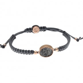 Bracelet silver 925 pink gold plated & with agate with cord - Enigma