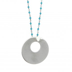 Necklace silver 925 rhodium plated & with turqoise - Eva