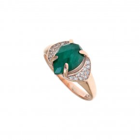 Ring silver 925 pink gold plated & with treated emerald and white zirconia - Nymfes