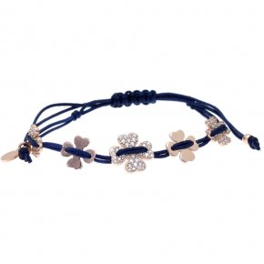 Bracelet silver 925 pink gold plated with synth.stones and cord - LAMPSIS