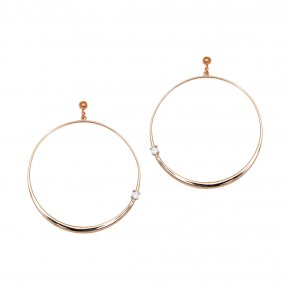 Earrings silver 925 pink gold plated & with white zirconia - Echo