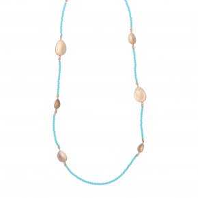 Necklace metal pink gold plated & with fresh water pearl - Anemos
