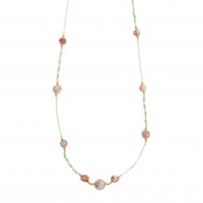 Necklace silver 925 gold plated & with colored stones and crystals - Chroma