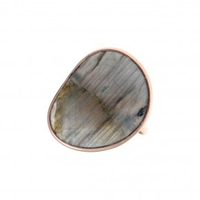 Ring silver 925 pink gold plated & with labradorite - Petra