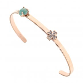 Bracelet silver 925 pink gold plated & with amazonite and white zirconia - Aura