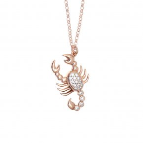 Necklace silver 925 pink gold plated & with zirconia - Onar