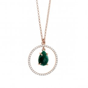Necklace silver 925 pink gold plated & with treated emerald and white zirconia - Nymfes