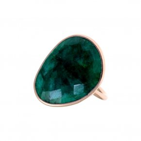 Ring silver 925 yellow gold plated & with treated emerald - Color Me
