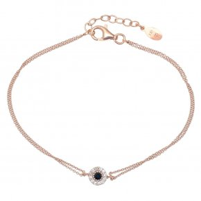 Bracelet silver 925 pink gold plated & with colored zirconia - Helios