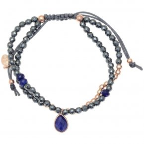 Bracelet silver 925 pink gold plated & with hematite and treated sapphire with cord - Petra