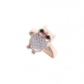 Ring silver 925 pink gold plated & with zirconia - Onar