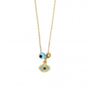 Necklace silver 925 gold plated, with enamel, evil eye and white zircon - Wish Luck