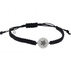 Bracelet silver 925 rhodium plated & with white zirconia and black spines with cord - WANNA GLOW