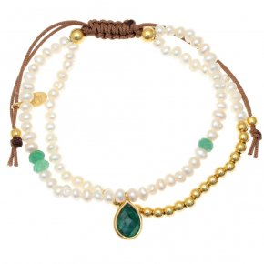 Bracelet silver 925 gold plated & with fresh water pearls and treated emerald with cord - Petra
