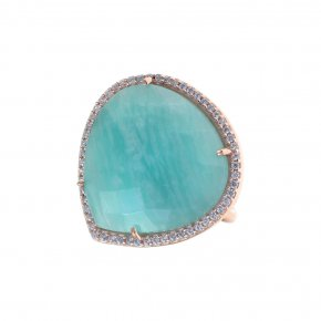 Ring silver 925 pink gold plated & with amazonite and white zirconia - Color Me