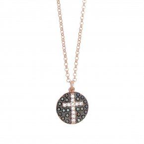 Necklace silver 925 pink gold plated & with white zirconia and black spines - WANNA GLOW
