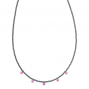 Necklace silver 925 pink gold plated & with hematite and colored zirconia - Chromata