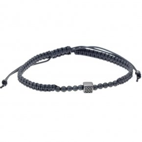 Bracelet silver 925 black rhodium plated & with black spinels with cord - My Man